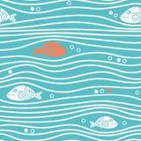 Nahtloses blaues einfaches Muster mit einfachen Fischen und Wellen Vektoreinfacher Marinehintergrund Lizenzfreie Stockfotos