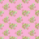 Nahtloses Blumen auf rosafarbenen Streifen Stockfotos