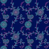 Nahtloses Blumen-buntes Muster Paisleys lizenzfreie abbildung