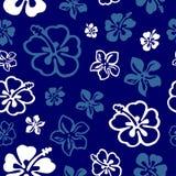 Nahtloses Blumenmuster über Blau lizenzfreie abbildung