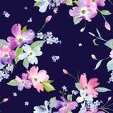 Nahtloses Blumenmuster Aquarell-Blumenhintergrund für Heiratseinladung, Gewebe, Tapete, Gewebe stock abbildung