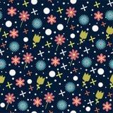 Nahtloses Blumenmuster auf einem blauen Hintergrund Stockfotografie