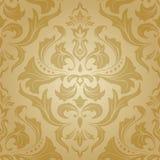 Nahtloses Blumenmuster des goldenen Damastes Stockbild