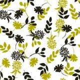 Nahtloses Blumenmuster Lokalisierte schwarze und gelbe Blumen auf wh Stockfoto