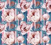 Nahtloses Blumenmuster mit anemonies und Streifen Lizenzfreies Stockbild
