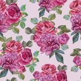 Nahtloses Blumenmuster mit Aquarellrosarosen und -pfingstrosen Lizenzfreies Stockfoto