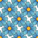 Nahtloses Blumenmuster mit blaue Hand gezeichneten Gänseblümchen Lizenzfreie Stockbilder