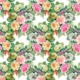 Nahtloses Blumenmuster mit den roten und orange Rosen Stockfoto