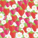 Nahtloses Blumenmuster mit Erdbeeren vektor abbildung