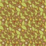 Nahtloses Blumenmuster mit geometrischen stilisierten Blättern und Blumen. Stock Abbildung