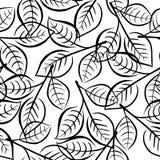 Nahtloses Blumenmuster mit hellem Blau verlässt auf den Niederlassungen Stockfotos
