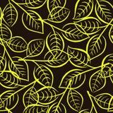 Nahtloses Blumenmuster mit hellem Gelb verlässt auf den Niederlassungen Stockbilder