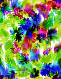 Nahtloses Blumenmuster mit ikat Stockbild