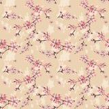 Nahtloses Blumenmuster mit Kirschblütenbeschaffenheit auf Beige Lizenzfreie Stockfotos