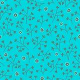 Nahtloses Blumenmuster mit kleinen Blumen Gelbe Blumen, Basisrecheneinheit, Inneres mit Tropfen Endloser heller blauer Hintergrun Stockbild