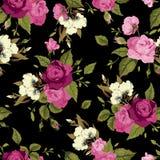 Nahtloses Blumenmuster mit rosa Rosen auf schwarzem Hintergrund Lizenzfreie Stockfotografie
