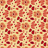 Nahtloses Blumenmuster mit roten Blättern stock abbildung