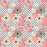 Nahtloses Blumenmuster mit schwarzen Flecken, Kreishintergrund Stockfoto