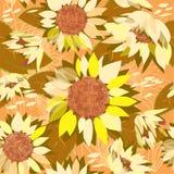 Nahtloses Blumenmuster mit Sonnenblumen. Stockfotografie