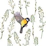 Nahtloses Blumenmuster mit Vögeln Lizenzfreie Stockfotografie