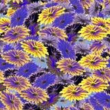 Nahtloses Blumenmustergelb, Veilchen, Purpur, blaue Blumen Playnig mit Leuchte Lizenzfreies Stockbild