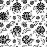 Nahtloses Blumenschwarzweiss-muster Rasterclipart Lizenzfreie Stockbilder