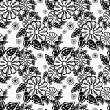 Nahtloses Blumenschwarzweiss-muster Rasterclipart Lizenzfreies Stockfoto
