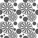 Nahtloses Blumenschwarzweiss-muster Rasterclipart Lizenzfreie Stockfotos