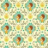 Nahtloses Blumentier-Muster I Stockfoto