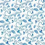 Nahtloses botanisches Muster des Vektors mit Niederlassungen Gzhel-Art Nahtloses Muster des Ostern-Hintergrundes Lizenzfreies Stockbild