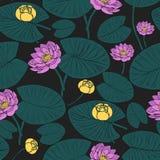 Nahtloses botanisches Muster mit Wasser lilys lizenzfreie abbildung