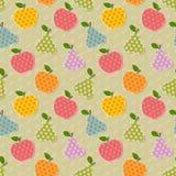 Nahtloses buntes Apfel- und Birnenmuster Stockfoto