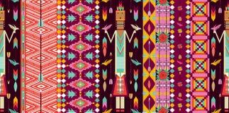 Nahtloses buntes aztekisches Muster mit Vögeln Lizenzfreies Stockbild