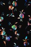 Nahtloses buntes Blumenmuster mit schwarzem Hintergrund lizenzfreie abbildung