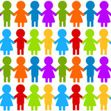 Nahtloses buntes Kinderhändchenhalten Stockbilder
