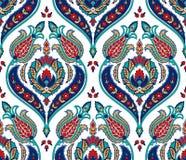 Nahtloses buntes Muster des Vektors in der türkischen Art Dekorativer Hintergrund der Weinlese Hand gezeichnete Verzierung Islam, vektor abbildung