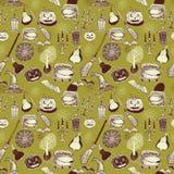 Nahtloses buntes Muster Halloweens mit festlichen Halloween-Illustrationen Design für Packpapier, Papierverpackung Stockbild