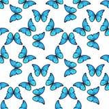 Nahtloses buntes Muster mit blauen Schmetterlingen Stockfoto