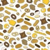 Nahtloses buntes Muster mit Brot Stockfotos