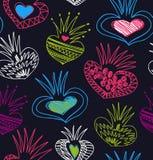 Nahtloses buntes Muster mit dekorativen Gekritzelelementen lizenzfreie abbildung