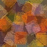 Nahtloses buntes Muster mit den gestreiften und gewellten quadratischen Elementen des Schmutzes stock abbildung