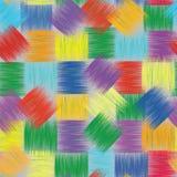 Nahtloses buntes Muster mit gestreiften Quadraten des Schmutzes Stockfotos
