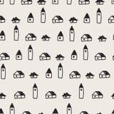 Nahtloses buntes Muster mit Haus, Bäumen und Bergen Nordisches Naturlandschaftskonzept lizenzfreie abbildung
