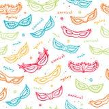 Nahtloses buntes Muster mit Karnevalsmasken Stockbild