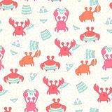 Nahtloses buntes Muster mit Krabben Stockbilder