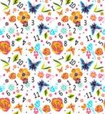 Nahtloses buntes Muster mit Zahlen und Blumen, Vektorillustration nett Stockfotografie
