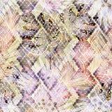 Nahtloses buntes tropisches Muster mit Aquarelleffekt Stilvolles Muster für Gewebe Stockfotos