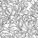 Nahtloses bw-Muster mit Chrysantheme Stockfotografie