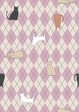 Nahtloses Check-Muster mit Katzen Stockfotos