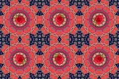 Nahtloses dekoratives Muster mit Himbeeren in der russischen Art Stockfotos